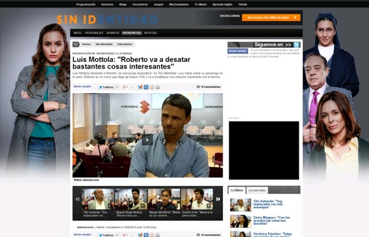 ANTENA 3 - Entrevista Luis Mottola - Rueda de prensa SIN IDENTIDAD (12/5/2014)
