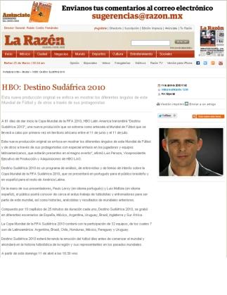 """El actor español Luis Mottola presenta para el canal norteamericano HBO la serie """"Destino Sudáfrica 2010""""."""