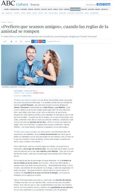#estreno #PrefieroQueSeamosAmigos ABC.es #Madrid @LuisMottola @Sarandonga55 @TeatroLaLatina @_pentacion_